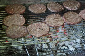 Burgers cooking on the BBQ